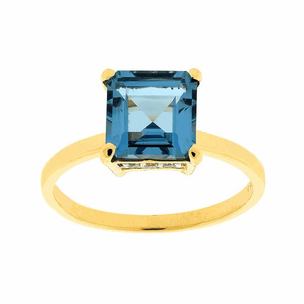 Anel Ouro 18K Pedra Topázio Azul e Brilhantes