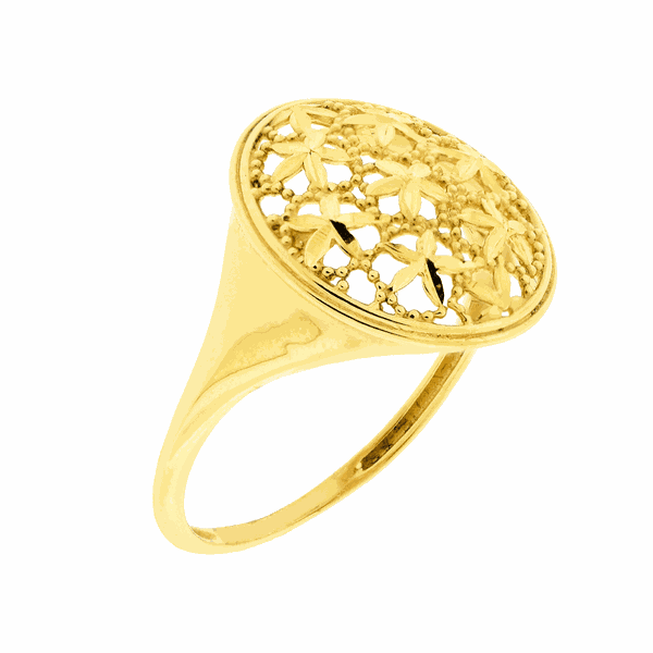 Anel de Ouro 18K Oval Flores Diamantadas
