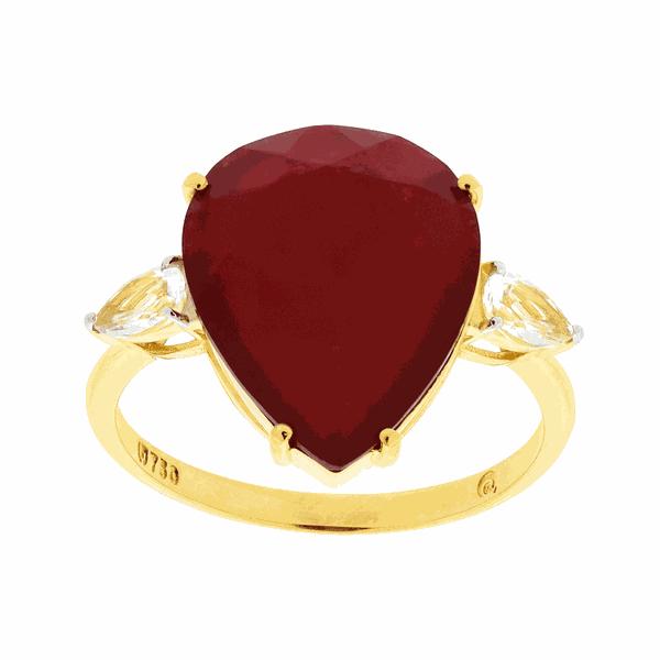 Anel de Ouro 18K Pedra de Quartzito Vermelho e Topázio