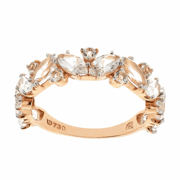 Meia Aliança de Ouro Rosé 18K com Pedras de Topázio