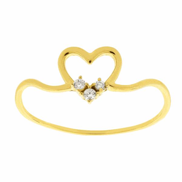 Anel de Ouro 18K Coração com Brilhantes