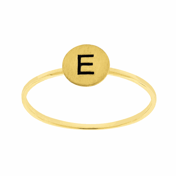 Anel de Ouro 18K com Letra E