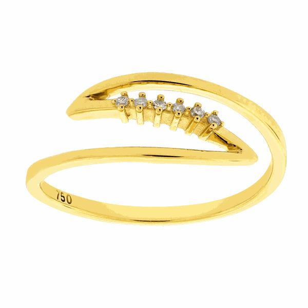 Anel de Ouro 18K Contemporâneo com Pedras de Brilhante