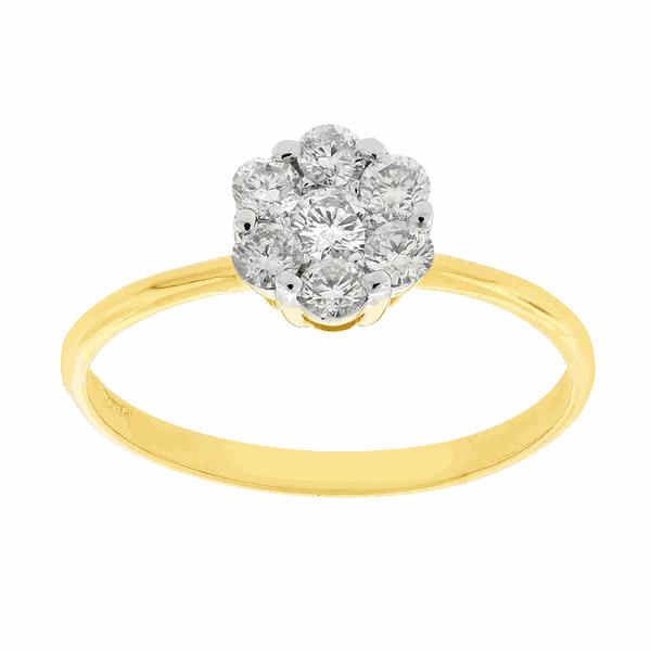 Anel Flor de Brilhantes em Ouro Amarelo 18K