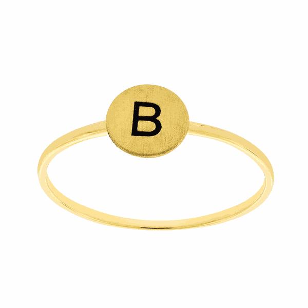 Anel de Ouro 18K com Letra B
