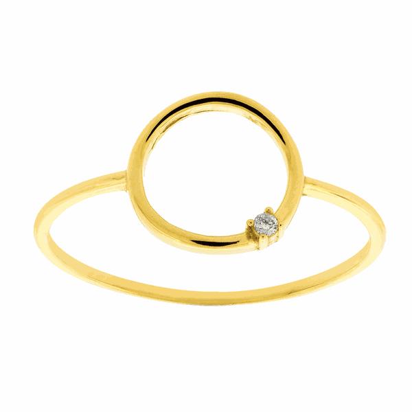Anel de Ouro 18K Círculo com Brilhante