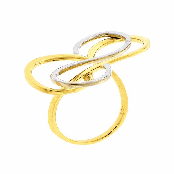 Anel em Ouro Amarelo e Branco 18K Infinito Grande