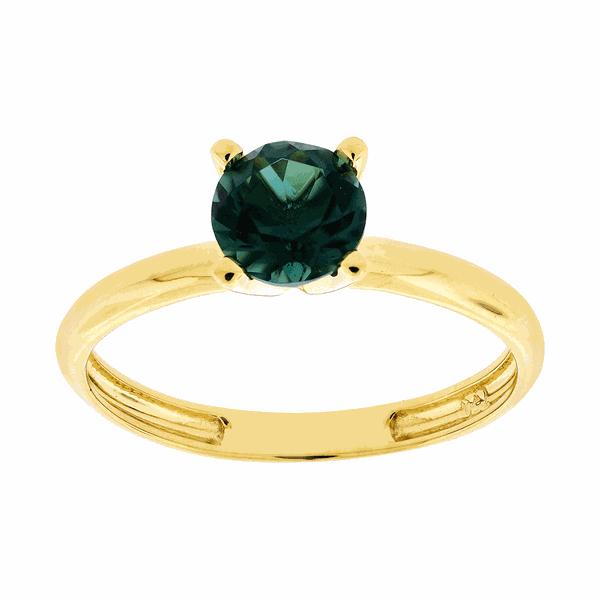 Anel Solitário Ouro 18K Pedra de Topázio Verde