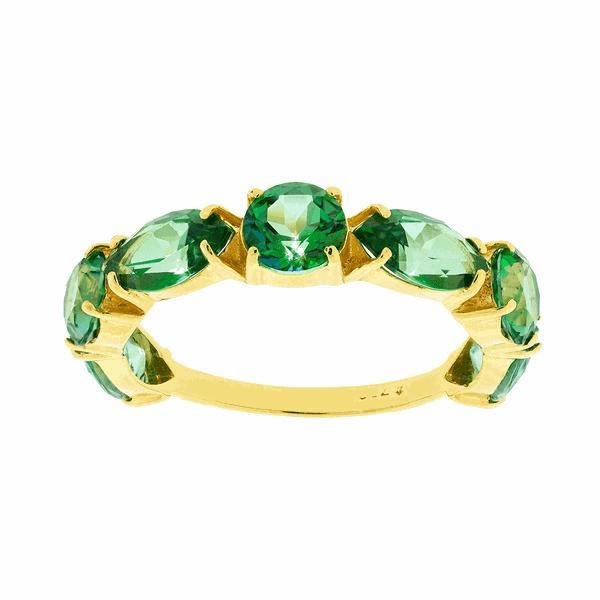 Meia Aliança de Ouro 18K com Topázios Verde