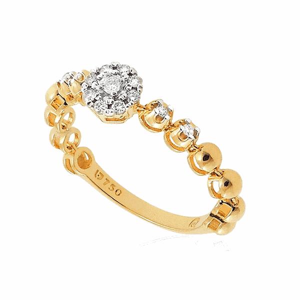 Anel Flexível de Ouro 18K Bolinhas com Pedras de Brilhante