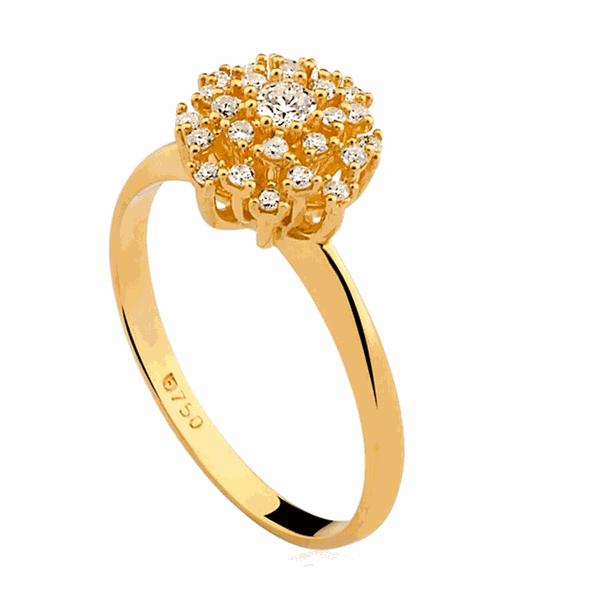 Anel Buquê de Diamantes Grande em Ouro 18K