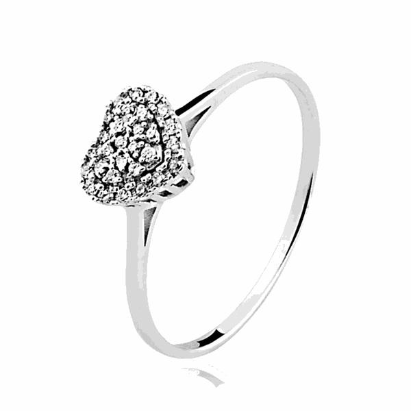Anel Coração de Diamantes em Ouro Branco 18K