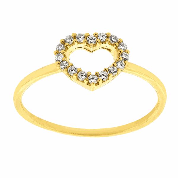 Anel de Ouro 18K Coração Cravejado de Zircônias