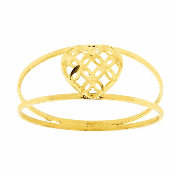 Anel de Ouro 18K Coração Diamantado Pequeno