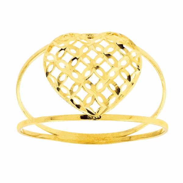 Anel de Ouro 18K Coração Diamantado