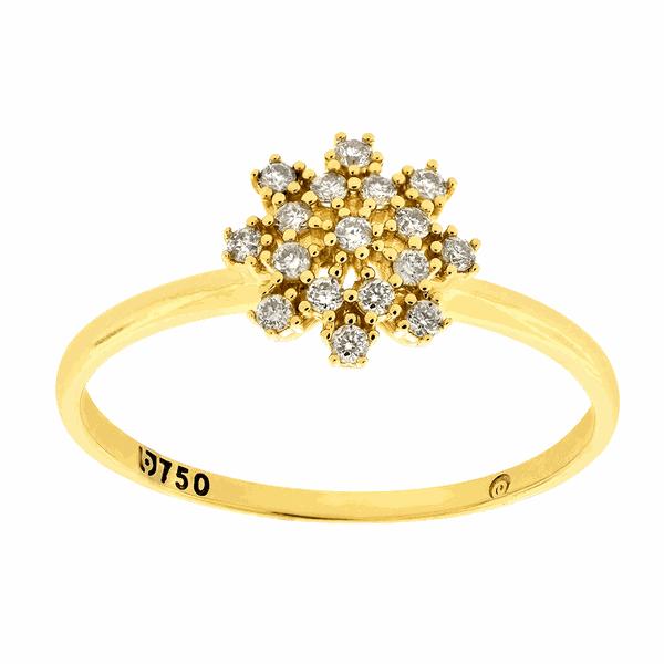 Anel em Ouro 18K com Pedras de Brilhante