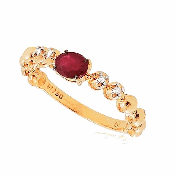 Anel Flexível de Ouro 18K Bolinhas com Pedra de Rubi