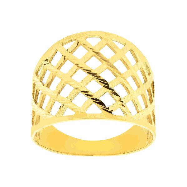 Anel de Ouro 18K Feminino Vazado Largo