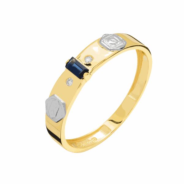Anel de Formatura em Ouro 18K Pedras e Símbolo da Profissão
