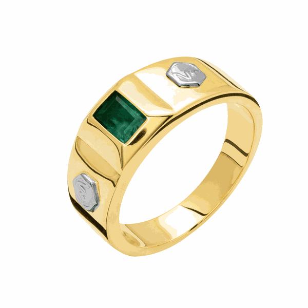 Anel de Formatura em Ouro 18K Pedra e Símbolo da Profissão