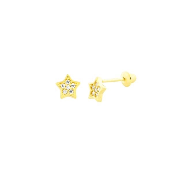 Brinco de Ouro 18K Estrela Baby Pedras de Zirconia