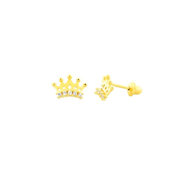 Brinco Infantil de Ouro 18K Coroa com Pedras Zircônia