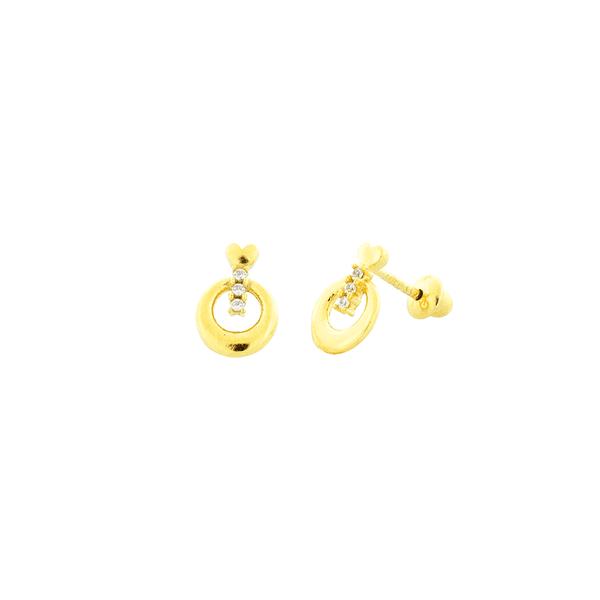 Brinco Infantil Ouro 18K Pequeno Círculo com Pedras de Zircônias