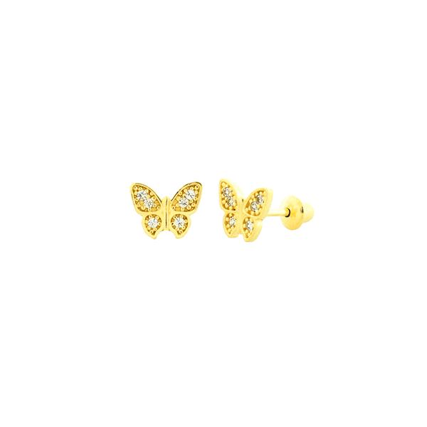 Brinco Infantil de Ouro 18K Borboleta com Pedras de Zircônia