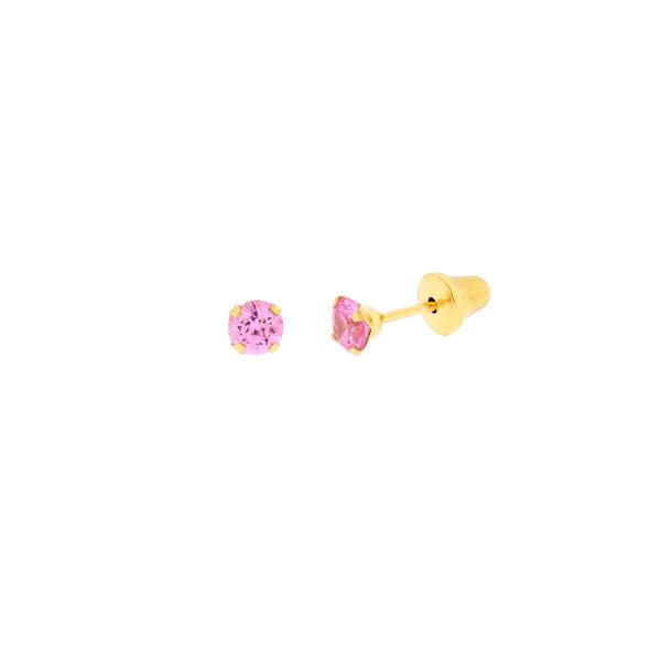 Brinco de Ouro Infantil Zircônia Rosa 3mm