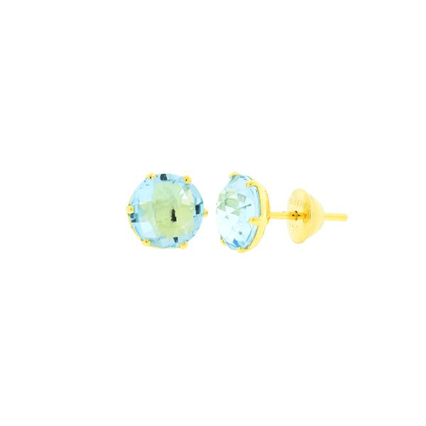 Brinco Pedra de Topázio Azul em Ouro 18K