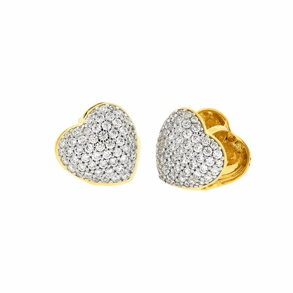 Brinco de Ouro 18K Coração com Zirconias