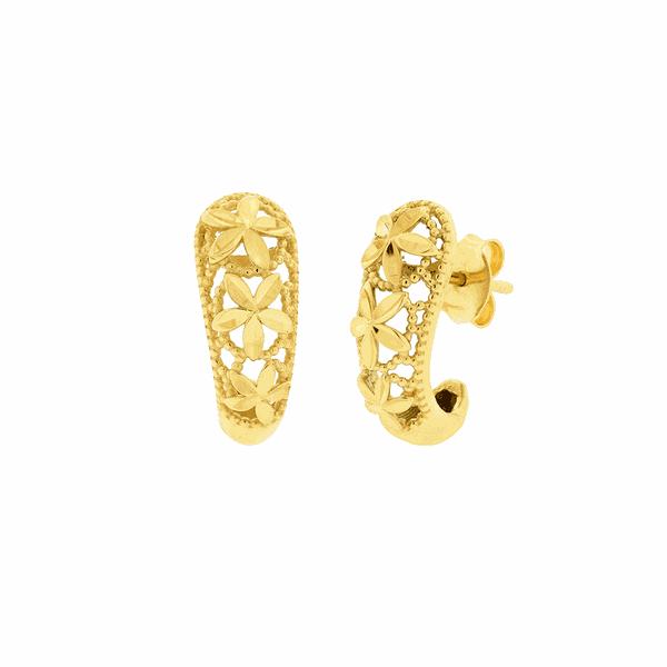 Brinco de Ouro 18K Flores Diamantado