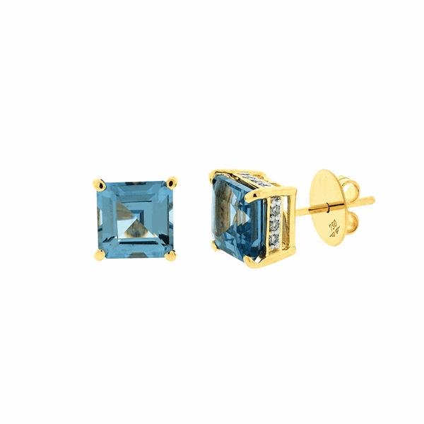 Brinco Ouro 18K Pedra Topázio Azul e Brilhantes