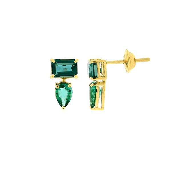 Brinco de Ouro 18K Pedra Esmeralda e Topázio Verde