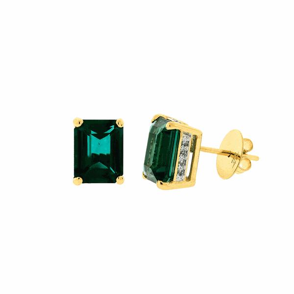 Brinco Ouro 18K Pedra Topázio Verde e Brilhantes