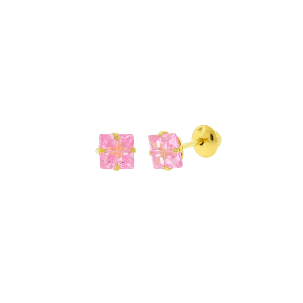 Brinco de Ouro 18K Zirconia Carre Rosa Lapidada