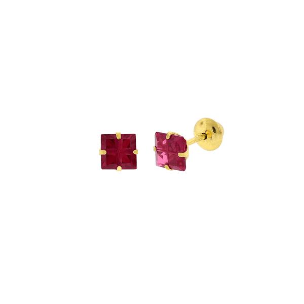 Brinco de Ouro 18K Zirconia Carre Vermelha Lapidada