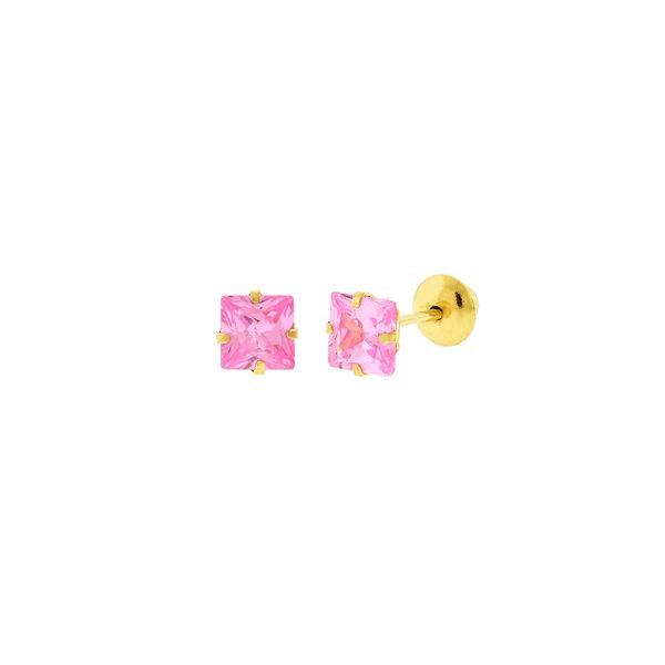 Brinco de Ouro 18K Zircônia Rosa Carre 4mm