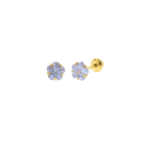 Brinco de Ouro 18K Zircônia Lilás Flor 4mm