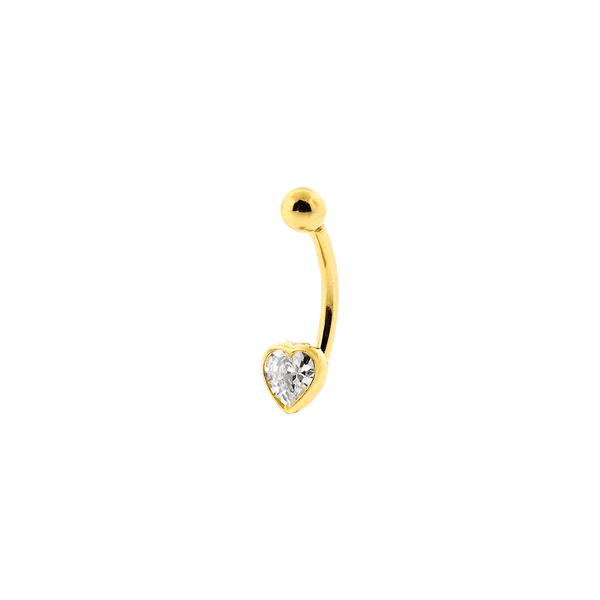 Piercing de Umbigo Ouro 18K com Coração de Zircônia