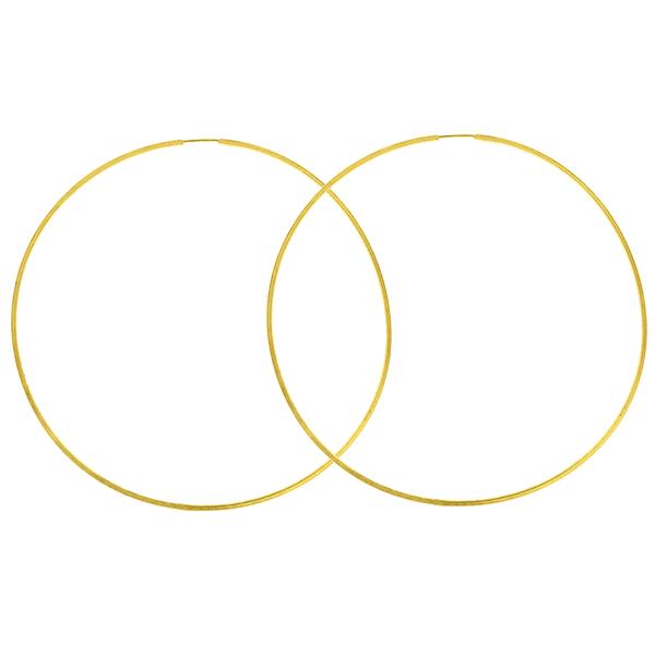 Brinco Argola de Ouro 18K 6cm Fio Quadrado