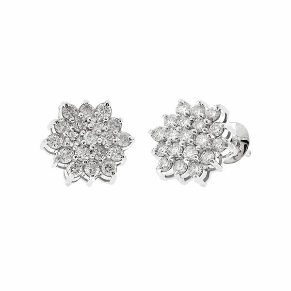 Brinco Flor de Ouro Branco 18K com Diamantes