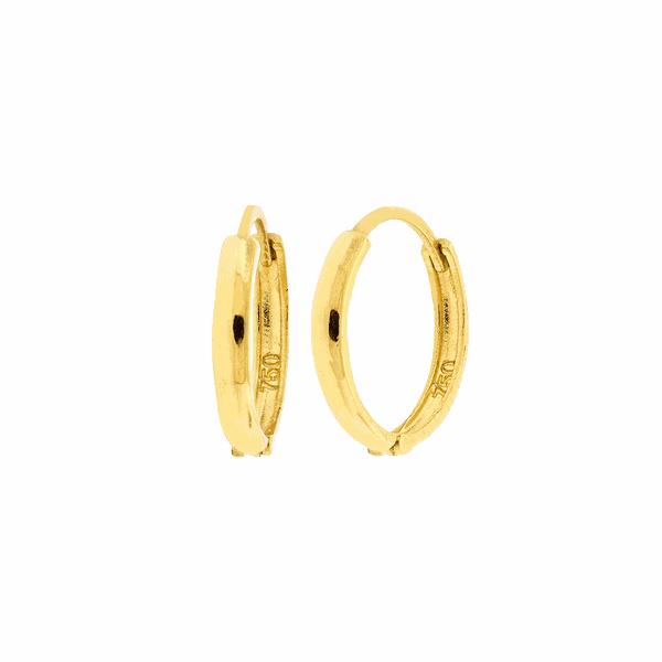 Brinco de Argola Ouro 18K 1,4cm Fecho Trava