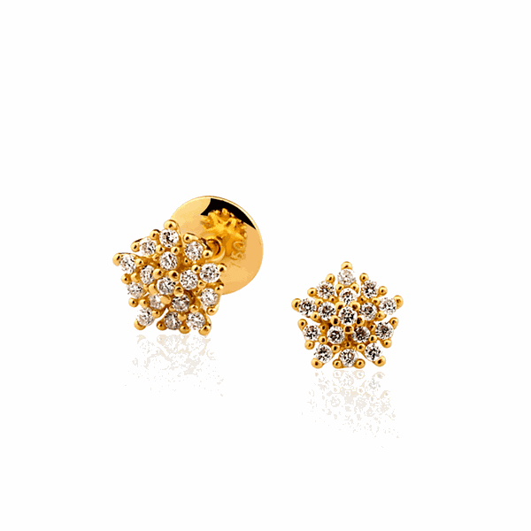 Brinco Buquê de Diamantes Pequeno Ouro 18K