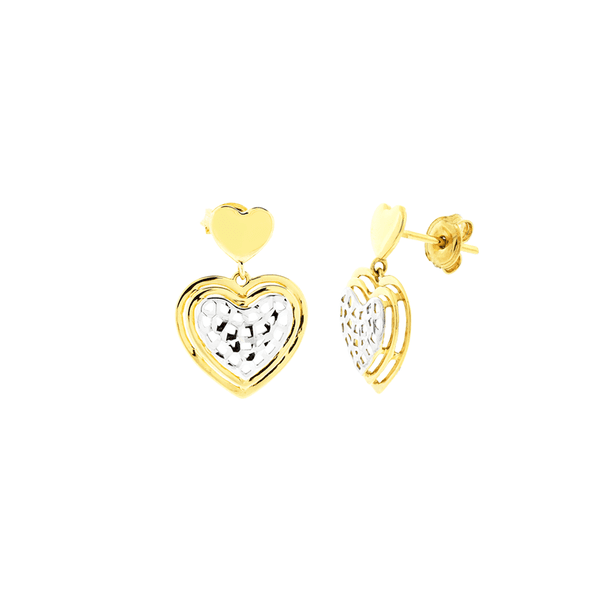 Brinco de Ouro Amarelo e Branco 18K Coração Pendente Feminino