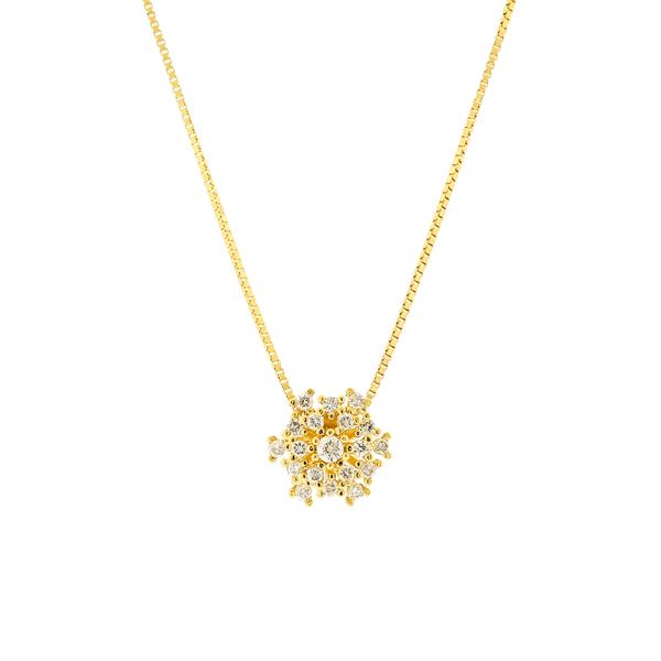 Gargantilha de Ouro Amarelo 18K Pingente Buquê com Pedras de Diamante