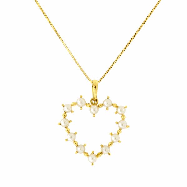 Gargantilha de Ouro 18K Pingente de Coração com Pérolas 45cm