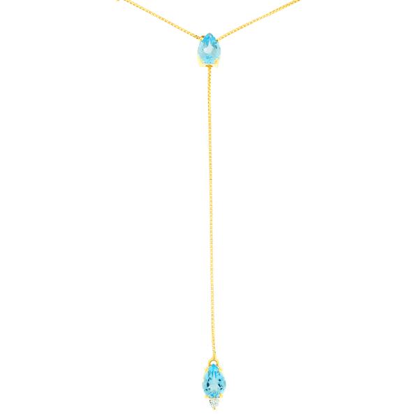 Gargantilha Gravatinha de Ouro 18K com Pedras de Topázio Sky