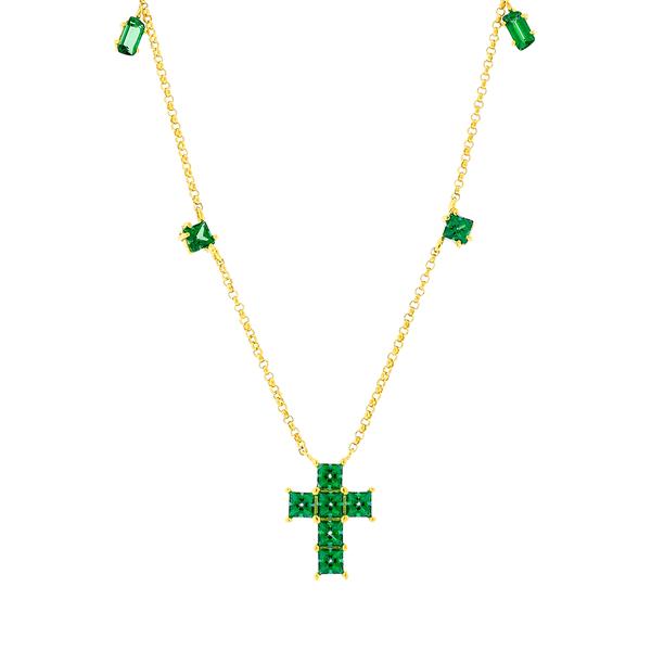 Gargantilha Ouro 18K Pedras de Topázio Verde com Cruz