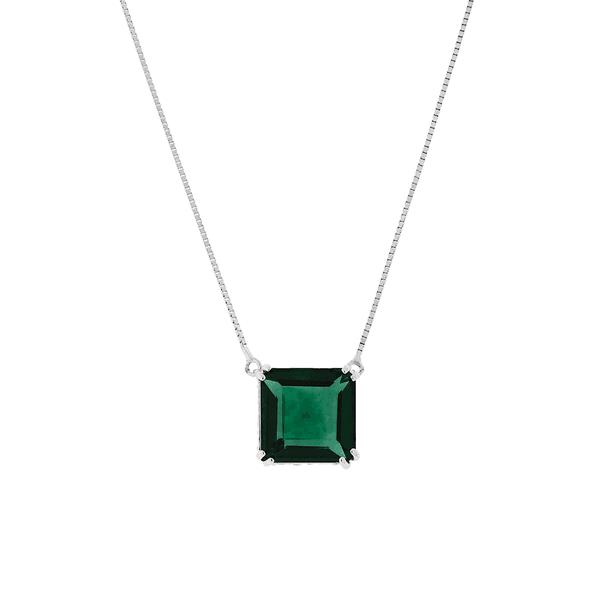 Gargantilha Ouro Branco 18K Pedra de Topázio Verde